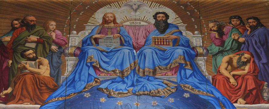 Holy Trinity, painting on the facade, Saint Vincent de Paul church, Paris