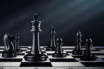 Chess board game for ideas and competition and strategy, business success concept. Chess background.