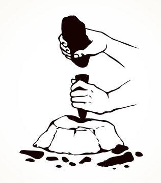 Vector illustration. Primitive people make stone tools