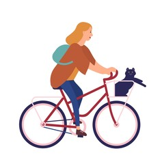 Pretty young woman dressed in casual clothes riding bike with cat sitting in basket. Cute girl on bicycle with her pet animal. Happy pedaling female bicyclist. Flat cartoon vector illustration.
