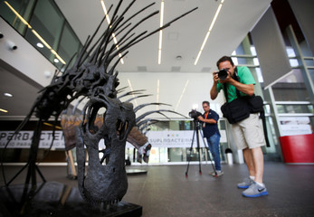 A photographer takes a picture of the replica of the skeleton of a newly identified dinosaur Bajadasaurus pronuspinax in Buenos Aires