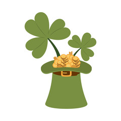 leprechaun hat with coins isolated icon