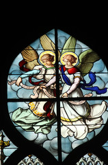 Angels, stained glass, Saint Severin church, Paris, France