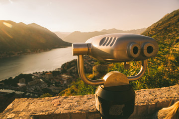 observation desk with binocular. view of kotor and kotor bay