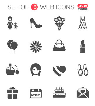 mother's day icon set. mother's day web icons for your project