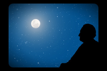 Old man looks out window on moonlit night. Vector illustration with silhouette of passenger on train. Full moon in starry sky