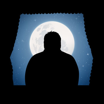 Man looks out window on moonlit night. Vector illustration with silhouettes of man and wavy curtains. Full moon in starry sky
