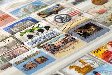 Kiev, Ukraine, February 04, 2019: Set of postage stamps of Germany of the twentieth century, Shallow depth of field
