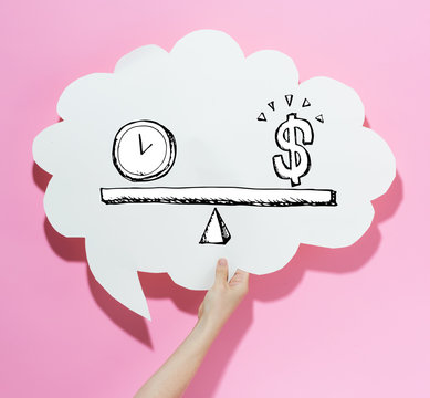 Time and money on the scale with a speech bubble on a pink background