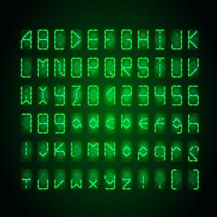 Set of bright green digital retro clock font on dark