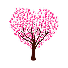 Tree made from pink color hand prints in heart shape leaves