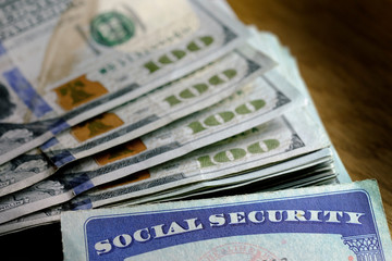 Social Security Cards with Cash Savings Retirement