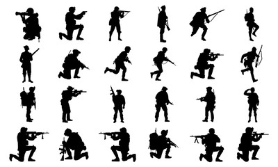 collection of images of army silhouettes