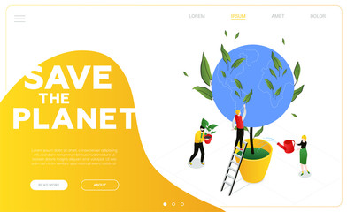 Save the planet - modern colorful isometric vector web banner