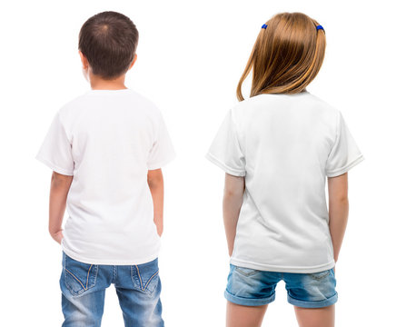 Kids in a white T shirt showed in back side isolated on white background for your design