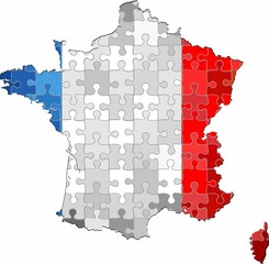 France map made of puzzle background - Illustration
