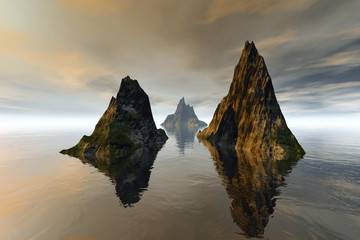 Islands, a tropical landscape, grass on the rocks, reflection on water and clouds in the sky.