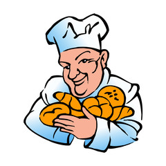 baker with cook's hat with bread, rolls and croissants, color icon
