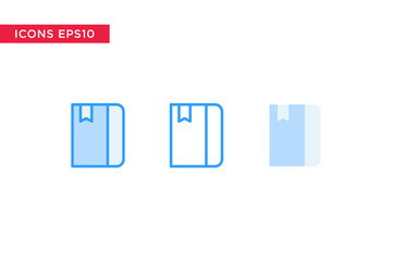 book icon in line, outline, filled outline and flat design style isolated on white background. vector eps10