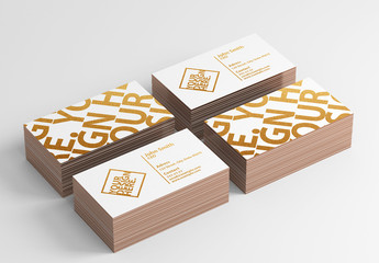 4 Stacks of Business Cards on White Background Mockup