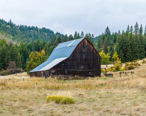 Brown Barn in field