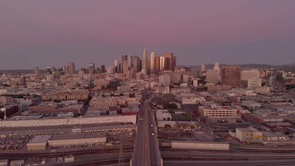 Fototapete - Los Angeles downtown skyline buildings aerial moving flying