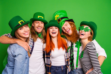 Portrait of nice lovely attractive cheerful cheery positive bonding group guys girls in costumes eyewear eyeglasses having fun isolated over bright vivid shine background