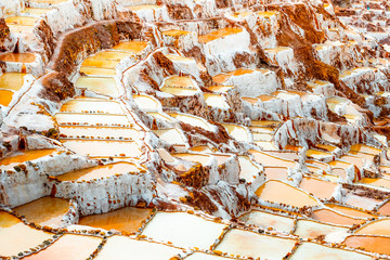 Salinas de Maras near Cusco, salt extraction in Peru