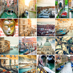Collage of sights and scenes of Venice, Italy