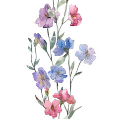 Pink and purple flax floral botanical flower. Watercolor illustration set. Seamless background pattern.