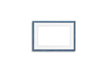 Blank photo frame mock up, grey blue realistic wooden framework isolated on white background, 3D illustration