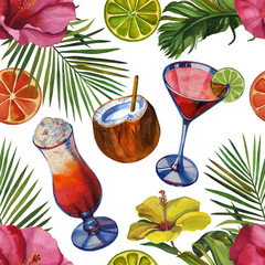 Watercolor pattern with tropical palm leaves, bananas, pineapples, drinks party and flowers. Seamless pattern
