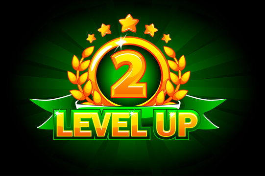Level UP banner with green ribbon and text. Vector illustration for casino, slots, roulette and game UI