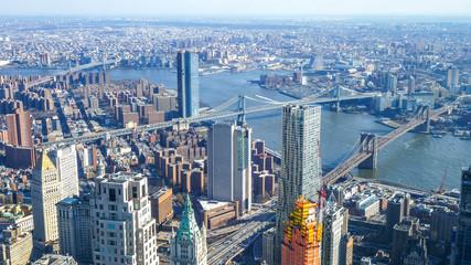 Amazing aerial view over Manhattan New York