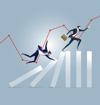 Businessman running on top of domino effect - Business concept vector