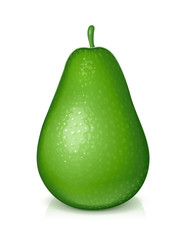Ripe, juicy green avocado. Realistic tropical fruit. Natural
