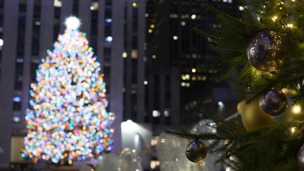 Famous and spectacular Christmas tree in New York