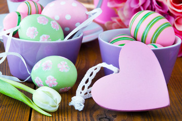 Easter egg decoration and heart