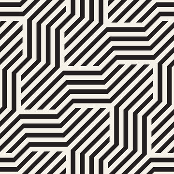 Vector seamless geometric pattern. Modern interlaced lines abstract texture. Polygonal linear grid from striped slanted elements.