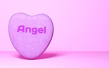 Sweet candy in shape of heart.Valentine wedding card.Minimal style.Copy space.Pastel background.3d render isolate illustration.Love concept.Inscription Angel