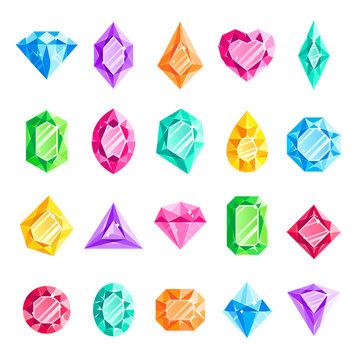 Jewels gems. Jewelry diamond, jewel heart crystal gem and diamonds gemstone isolated vector illustration set