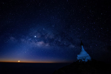 Milky Way Galaxy Mulayit taung pagoda on top of the mountain, the pagoda located in Kayin State Myanmar