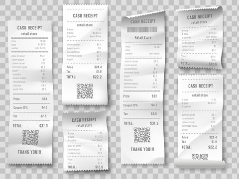 Retail purchase bill. Supermarket shopping receipt, sum invoice check and total cost store sale paper isolated vector set