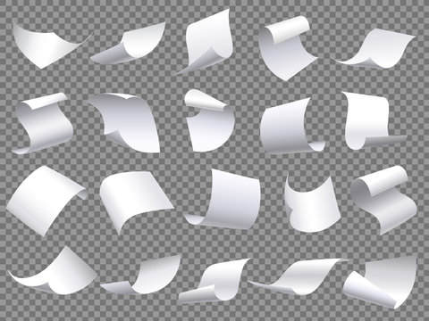 Flying paper pages. Falling papers documents sheets, document with curved corner and fly page sheet isolated vector objects set