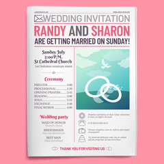 Wedding invitation tabloid. Newspaper front page, getting married brochure and old love journal layout vector illustration