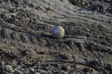 a succer ball on the demolition area