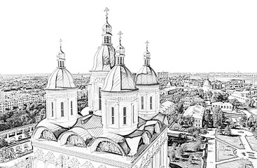 Assumption Cathedral and the bell tower of the Astrakhan Kremlin. Russia