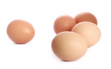 Fresh hen eggs isolated on white background