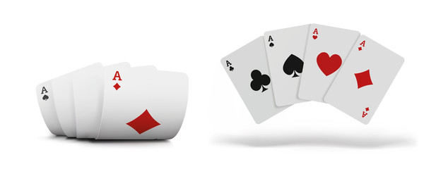 Playing cards set for poker in casino. Gambling concept on white background. The combination of playing cards.