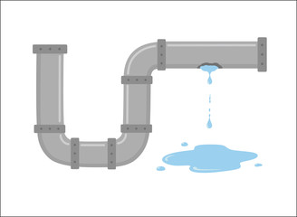 Leaking pipe with flowing water vector illustration